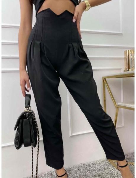 Czarne spodnie z wysokim stanem czarne cygaretki